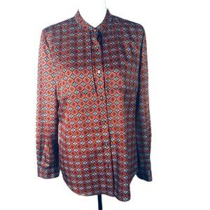 Anne Klein Blouse Red Geometric Long Sleeve Shirt